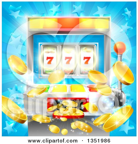 Clipart of a Casino Slot Machine Jackpot Spitting out Coins over a Blue Star Burst - Royalty Free Vector Illustration by AtStockIllustration