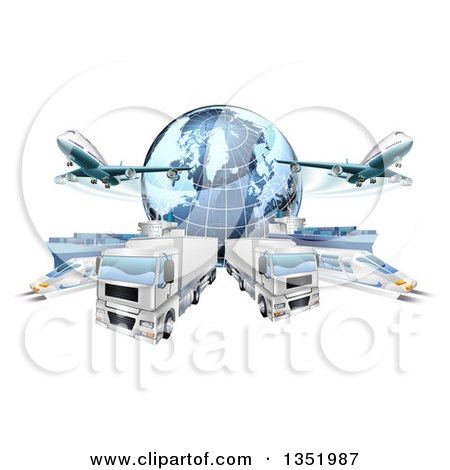 Clipart of a 3d Blue Earth Globe and Cargo Logistics Modes, Trains, Planes Big Rig Trucks, and Ships - Royalty Free Vector Illustration by AtStockIllustration