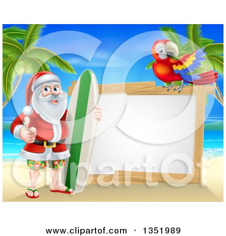 Clipart of a Christmas Santa Claus Giving a Thumb up and Standing with a Surf Board on a Tropical Beach by a Blank White Sign with a Scarlet Macaw Parrot - Royalty Free Vector Illustration by AtStockIllustration
