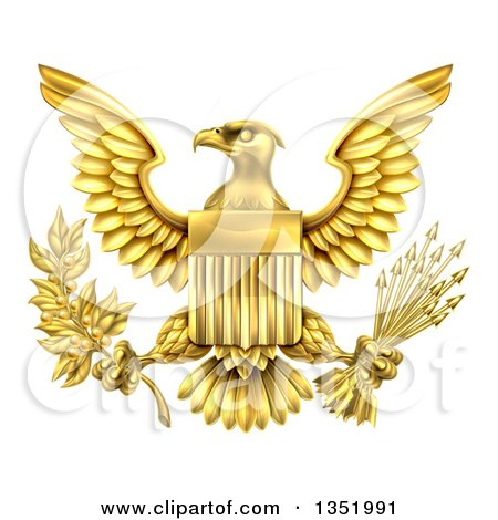 Clipart of the Great Seal of the United States Gold Bald Eagle with an American Flag Shield, Holding an Olive Branch and Arrows - Royalty Free Vector Illustration by AtStockIllustration