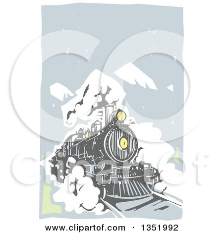 Clipart of a Woodcut Locomotive Train on a Rail Road Against Mountains and Sky - Royalty Free Vector Illustration by xunantunich