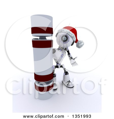 Clipart of a 3d Futuristic Robot Presenting a Giant Christmas Cracker, on a Shaded White Background - Royalty Free Illustration by KJ Pargeter