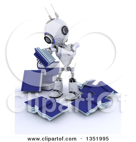 Clipart of a 3d Futuristic Robot Reading in a Circle of Messy Books, on a Shaded White Background - Royalty Free Illustration by KJ Pargeter