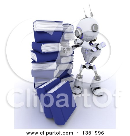 Clipart of a 3d Futuristic Robot Searching in a Stack of Books, on a Shaded White Background - Royalty Free Illustration by KJ Pargeter