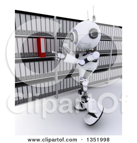 Clipart of a 3d Futuristic Robot Searching for a Binder in an Archive Room, on a Shaded White Background - Royalty Free Illustration by KJ Pargeter
