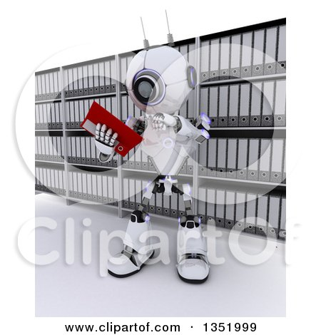 Clipart of a 3d Futuristic Robot Reading from a Binder in an Archive Room, on a Shaded White Background - Royalty Free Illustration by KJ Pargeter