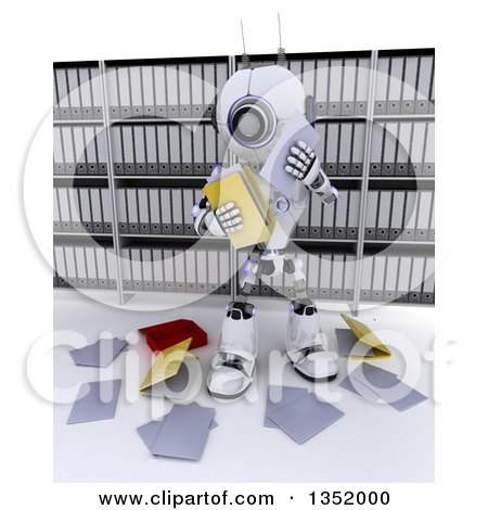 Clipart of a 3d Futuristic Robot Dropping Files in in an Archive Room, on a Shaded White Background - Royalty Free Illustration by KJ Pargeter