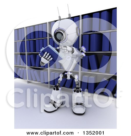 Clipart of a 3d Futuristic Robot Reading a Book Against Library Shelves, on a Shaded White Background - Royalty Free Illustration by KJ Pargeter