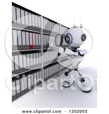 Clipart of a 3d Futuristic Robot Searching Binders with a Magnifying Glass in an Archive Room, on a Shaded White Background - Royalty Free Illustration by KJ Pargeter