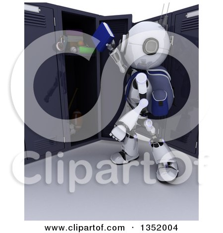 Clipart of a 3d Futuristic Robot School Student Putting Books in a Locker, on a Shaded White Background - Royalty Free Illustration by KJ Pargeter