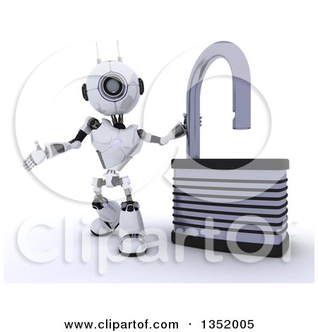 Clipart of a 3d Futuristic Robot Presenting by an Open Padlock, on a Shaded White Background - Royalty Free Illustration by KJ Pargeter