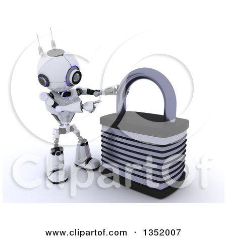 Clipart of a 3d Futuristic Robot Pointing to a Giant Padlock, on a Shaded White Background - Royalty Free Illustration by KJ Pargeter