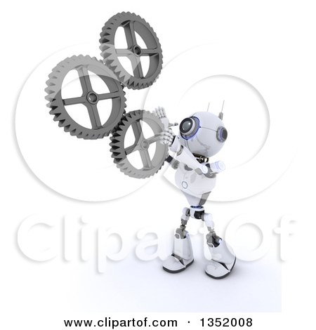 Clipart of a 3d Futuristic Robot Adjusting Gear Cog Wheels, on a Shaded White Background - Royalty Free Illustration by KJ Pargeter