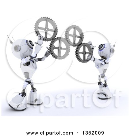 Clipart of 3d Futuristic Robots Adjusting Gear Cog Wheels, on a Shaded White Background - Royalty Free Illustration by KJ Pargeter
