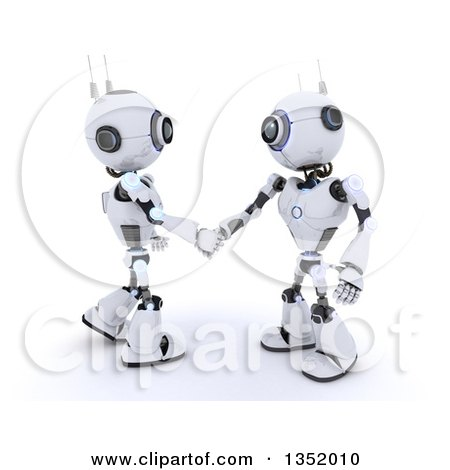 Clipart of 3d Futuristic Robots Shaking Hands, on a Shaded White Background - Royalty Free Illustration by KJ Pargeter