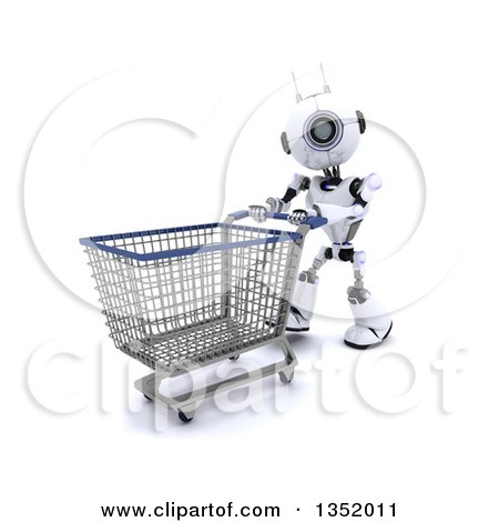 Clipart of a 3d Futuristic Robot Pushing an Empty Shopping Cart, on a Shaded White Background - Royalty Free Illustration by KJ Pargeter