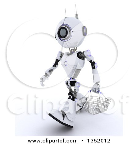 Clipart of a 3d Futuristic Robot Walking with a Shopping Basket, on a Shaded White Background - Royalty Free Illustration by KJ Pargeter
