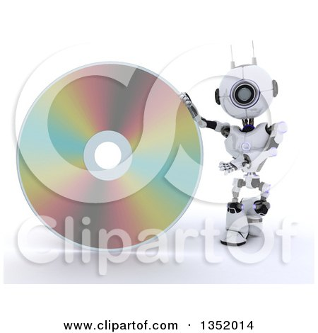 Clipart of a 3d Futuristic Robot Presenting a Cd or Dvd, on a Shaded White Background - Royalty Free Illustration by KJ Pargeter