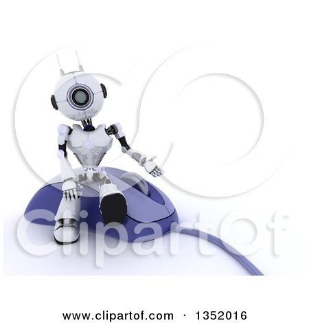 Clipart of a 3d Futuristic Robot Sitting and Presenting on a Giant Computer Mouse, on a Shaded White Background - Royalty Free Illustration by KJ Pargeter