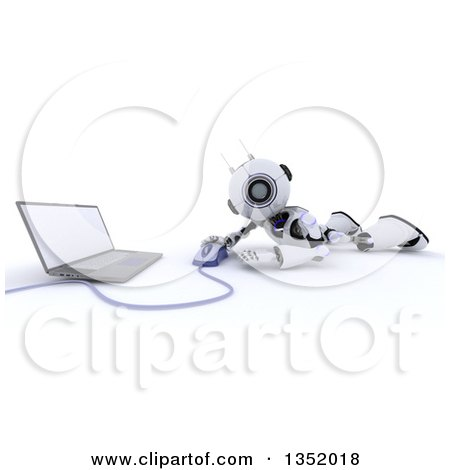 Clipart of a 3d Futuristic Robot Using a Laptop on the Floor, on a Shaded White Background - Royalty Free Illustration by KJ Pargeter