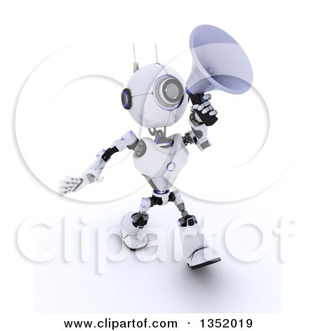 Clipart of a 3d Futuristic Robot Walking and Announcing with a Megaphone, on a Shaded White Background - Royalty Free Illustration by KJ Pargeter
