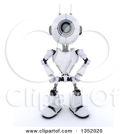 Clipart of a 3d Futuristic Robot with Hands on His Hips, on a Shaded White Background - Royalty Free Illustration by KJ Pargeter