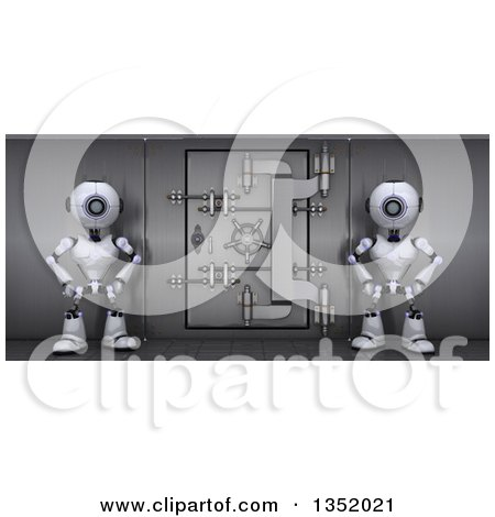 Clipart of 3d Futuristic Robots Guarding a Save Vault, on a Shaded White Background - Royalty Free Illustration by KJ Pargeter
