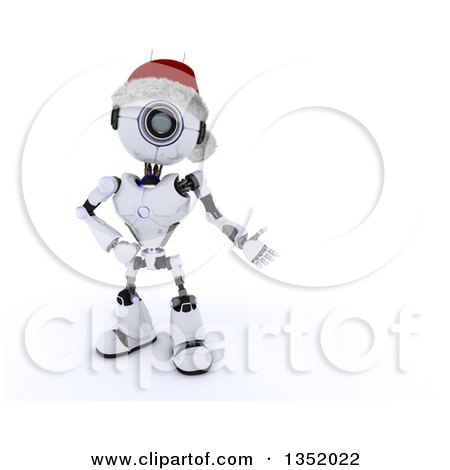 Clipart of a 3d Futuristic Robot Wearing a Christmas Santa Hat and Presenting Text Space, on a Shaded White Background - Royalty Free Illustration by KJ Pargeter