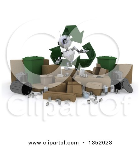 Clipart of a 3d Futuristic Robot in a Triangle of Recycle Arrows, over Boxes and Bins, on a Shaded White Background - Royalty Free Illustration by KJ Pargeter