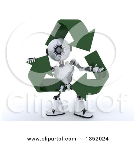 Clipart of a 3d Futuristic Robot in a Triangle of Recycle Arrows, on a Shaded White Background - Royalty Free Illustration by KJ Pargeter