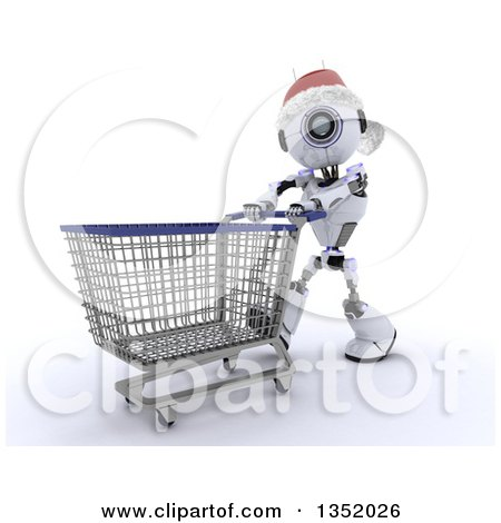 Clipart of a 3d Futuristic Robot Wearing a Christmas Santa Hat and Pushing a Shopping Cart, on a Shaded White Background - Royalty Free Illustration by KJ Pargeter