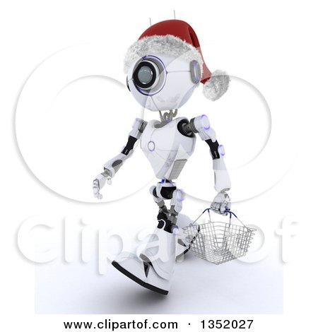 Clipart of a 3d Futuristic Robot Wearing a Christmas Santa Hat and Carrying a Shopping Basket, on a Shaded White Background - Royalty Free Illustration by KJ Pargeter