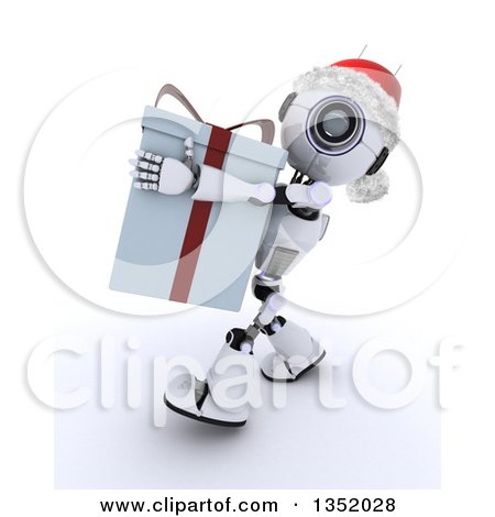 Clipart of a 3d Futuristic Robot Wearing a Christmas Santa Hat and Carrying a Big Gift, on a Shaded White Background - Royalty Free Illustration by KJ Pargeter