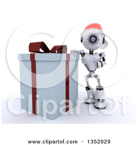 Clipart of a 3d Futuristic Robot Wearing a Christmas Santa Hat and Leaning Against a Big Gift, on a Shaded White Background - Royalty Free Illustration by KJ Pargeter