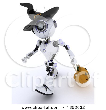 Clipart of a 3d Futuristic Robot Wearing a Witch Hat and Trick or Treating with a Halloween Pumpkin Basket, on a Shaded White Background - Royalty Free Illustration by KJ Pargeter