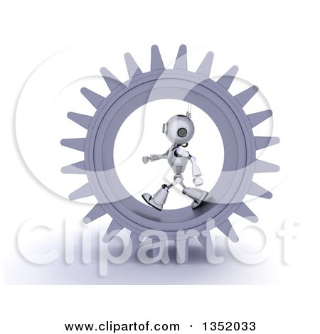 Clipart of a 3d Futuristic Robot Walking in a Giant Gear Cog Wheel, on a Shaded White Background - Royalty Free Illustration by KJ Pargeter
