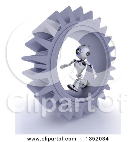 Clipart of a 3d Futuristic Robot Walking Inside a Giant Gear Cog Wheel, on a Shaded White Background - Royalty Free Illustration by KJ Pargeter