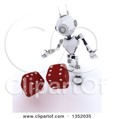 Clipart of a 3d Futuristic Robot Tossing Dice, on a Shaded White Background - Royalty Free Illustration by KJ Pargeter