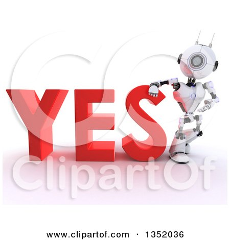 Clipart of a 3d Futuristic Robot Resting an Arm on and Presenting the Red Word YES, on a Shaded White Background - Royalty Free Illustration by KJ Pargeter