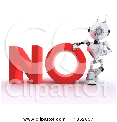 Clipart of a 3d Futuristic Robot Resting an Arm on and Presenting the Red Word NO, on a Shaded White Background - Royalty Free Illustration by KJ Pargeter