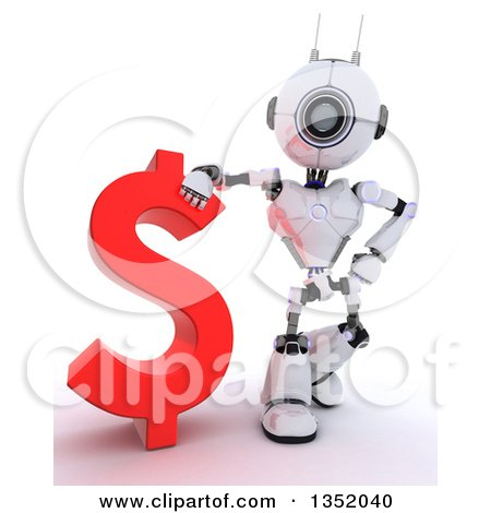 Clipart of a 3d Futuristic Robot Resting an Arm on a Red Dollar Currency Symbol, on a Shaded White Background - Royalty Free Illustration by KJ Pargeter