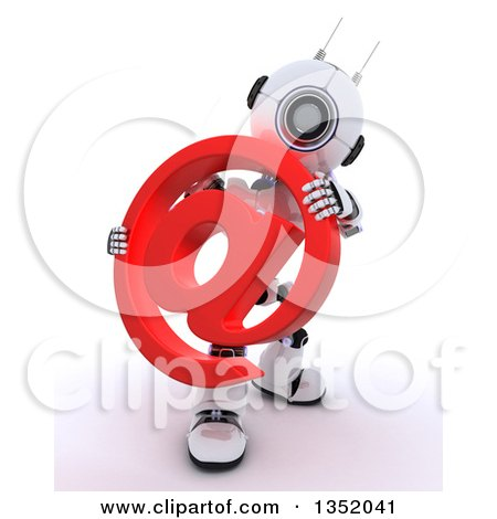 Clipart of a 3d Futuristic Robot Holding a Red Email Arobase at Symbol, on a Shaded White Background - Royalty Free Illustration by KJ Pargeter