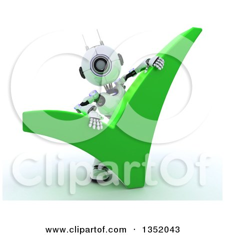 Clipart of a 3d Futuristic Robot Behind a Giant Green Check Mark, on a Shaded White Background - Royalty Free Illustration by KJ Pargeter