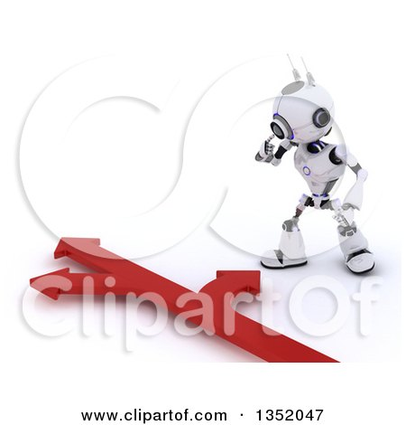 Clipart of a 3d Futuristic Robot Looking down at Arrows Going in Different Directions, on a Shaded White Background - Royalty Free Illustration by KJ Pargeter