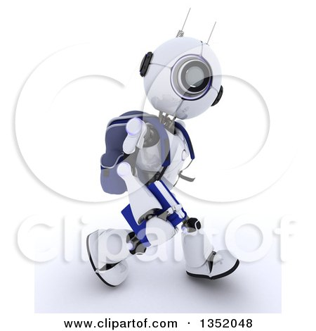 Clipart of a 3d Futuristic Robot School Student Walking, on a Shaded White Background - Royalty Free Illustration by KJ Pargeter