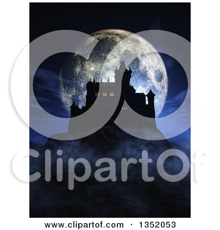 Clipart of a 3d Silhouetted Dark Halloween Castle on a Hill, with Lights in Some Windows, Against a Full Moon - Royalty Free Illustration by KJ Pargeter
