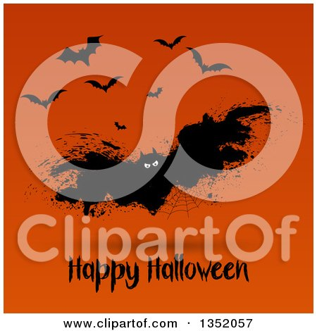 Clipart of a Grungy Spider Web Vampire Bat over Happy Halloween Text on Orange - Royalty Free Vector Illustration by KJ Pargeter