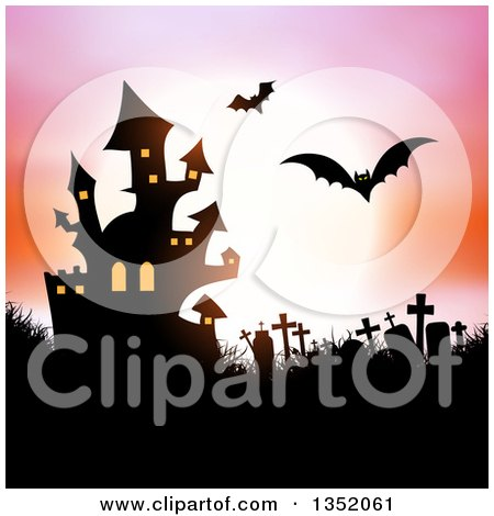 Clipart of a Silhouetted Haunted Halloween Castle, Flying Bats and Cemetery Against a Full Moon with a Pink and Orange Sky - Royalty Free Vector Illustration by KJ Pargeter
