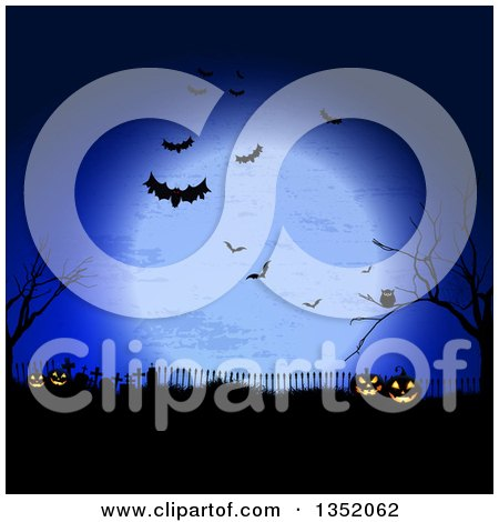 Clipart Of A Halloween Background Of Jackolantern Pumpkins In A Cemetery Under A Full Moon With Bats Bare Trees And An Owl Royalty Free Vector Illustration