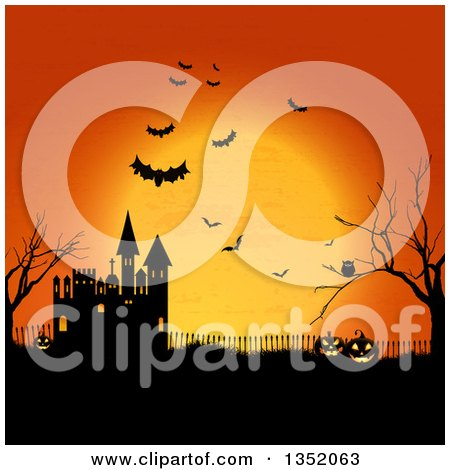 Clipart of a Halloween Background of Jackolnatern Pumpkins, an Owl, Flying Bats, Bare Tree and Castle Against an Orange Full Moon - Royalty Free Vector Illustration by KJ Pargeter